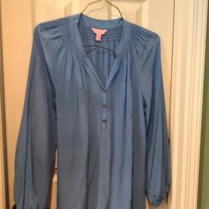 Lilly Pulitzer silk top blue